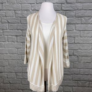 Chico's Ivory & Gold Striped Cardigan
